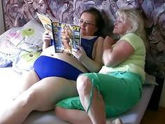 Old granny and large fatty masturbating