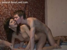 Tempting brunette chick rides a hard cock and gets nailed from behind
