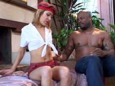 Nasty skinny bitch Kat works on BBC with her sweet mouth