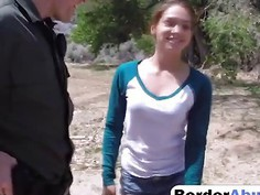 Sneaky Young Bimbo Gets Pussy Abused By Border Patrol Agent