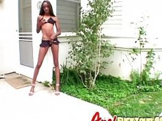 Skinny ebony in polka dot bikini lap dancing on white long cock sexual partner