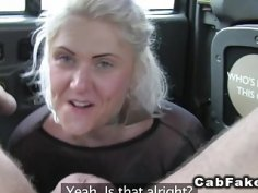 British blonde deep throats and bangs in cab
