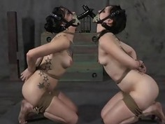 Caged girl gets a whipping for her smooth gazoo