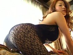 Gorgeous tipsy Japanese Yoko Matsugane spins on the floor and jams boobs