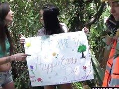 Teen chicks saving the trees via fucking the woodcutter