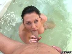 Brunette Aletta Ocean is fucking in jacuzzi