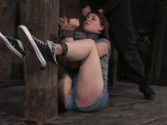 Spoiled pallid brunette Bronte is in stocks and cries loudly